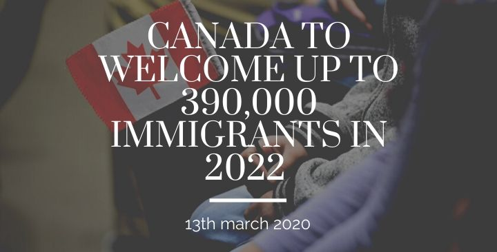 Canada to welcome up to 390,000 immigrants in 2022 -13th march 2020